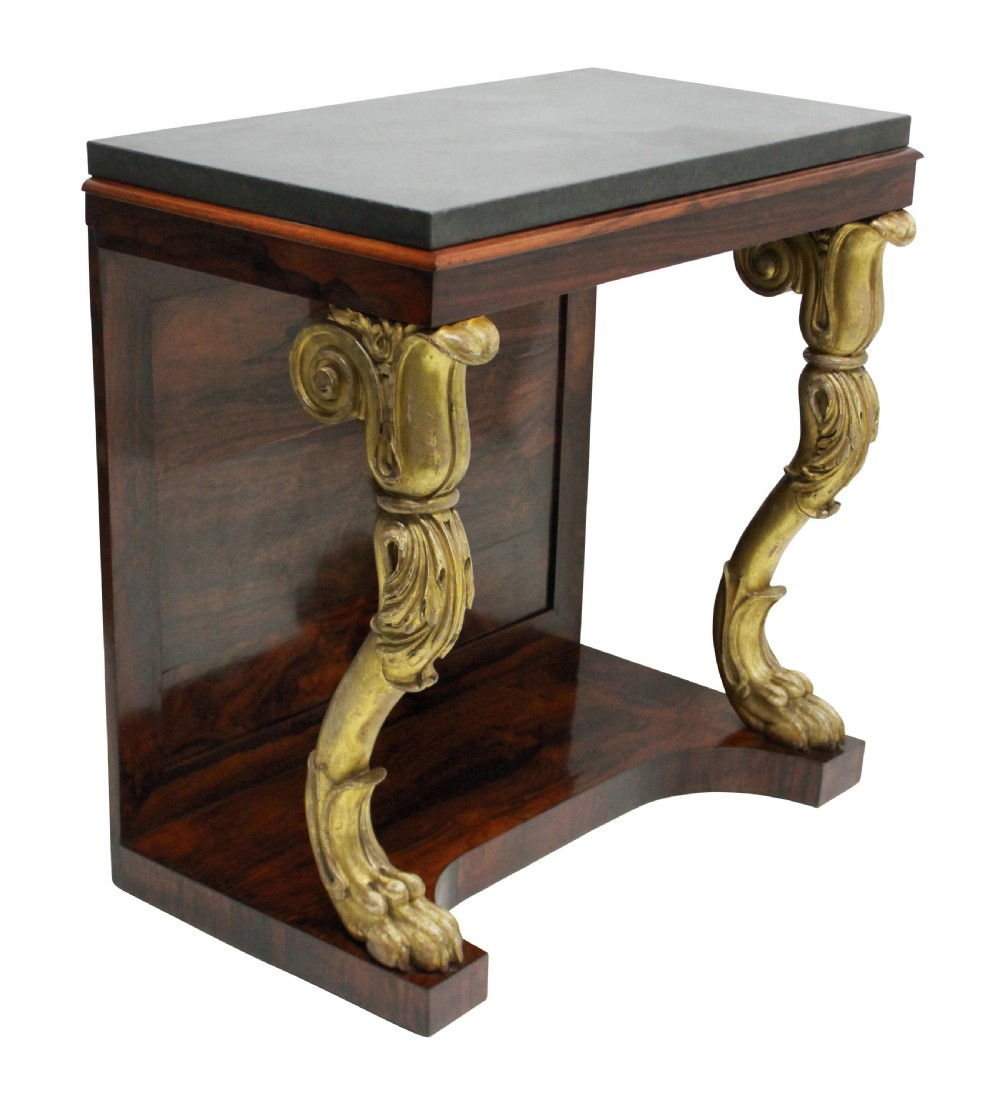 a regency rosewood gilt wood console table