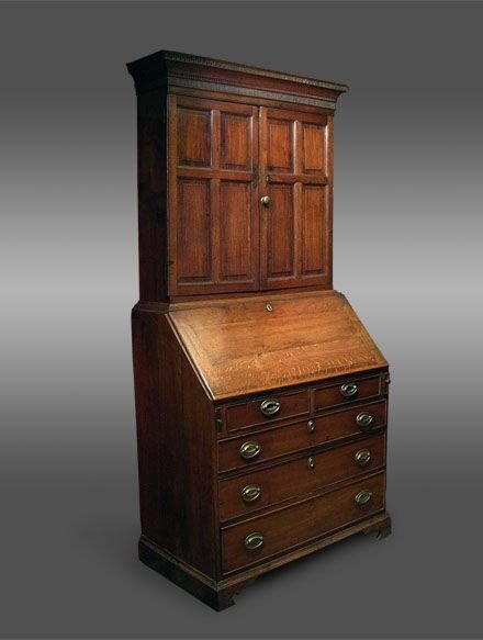 georgian welsh oak bureau bookcase cabinet c1780