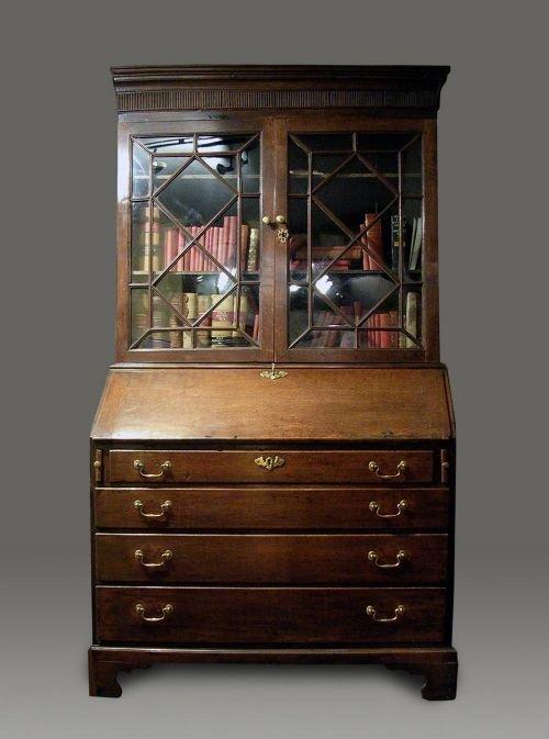 georgian welsh oak bureau bookcase c1780