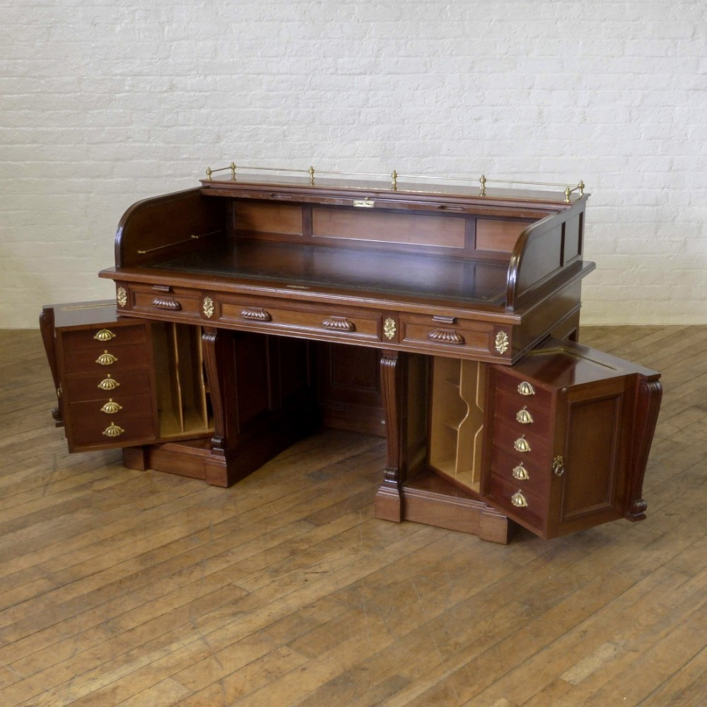 Pivoting Roll Top Desk By Friedrich Soennecken Antique Photo