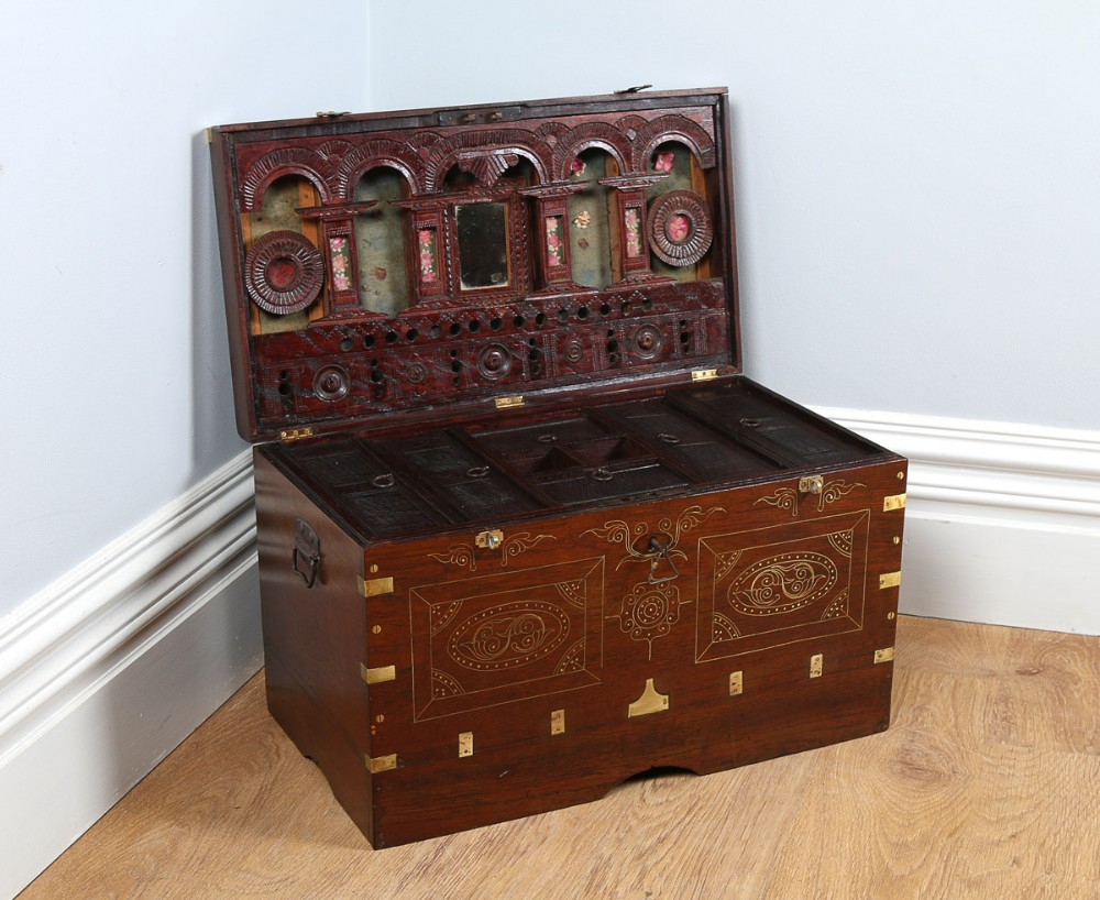 Victorian Anglo Indian / Burmese Colonial Teak & Brass ...