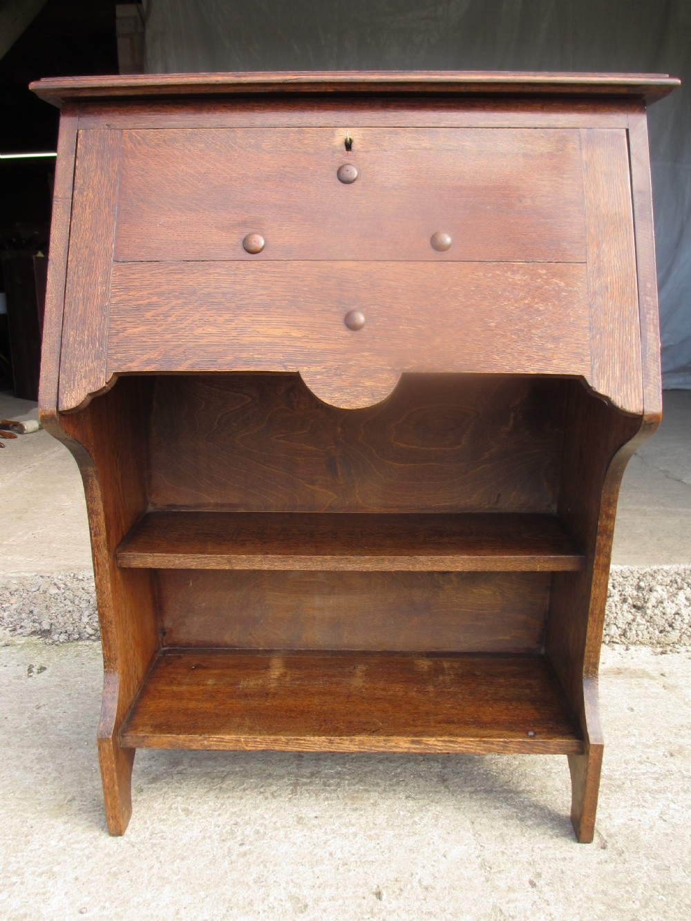 edwardian oak bureau bookcase with lockable work station